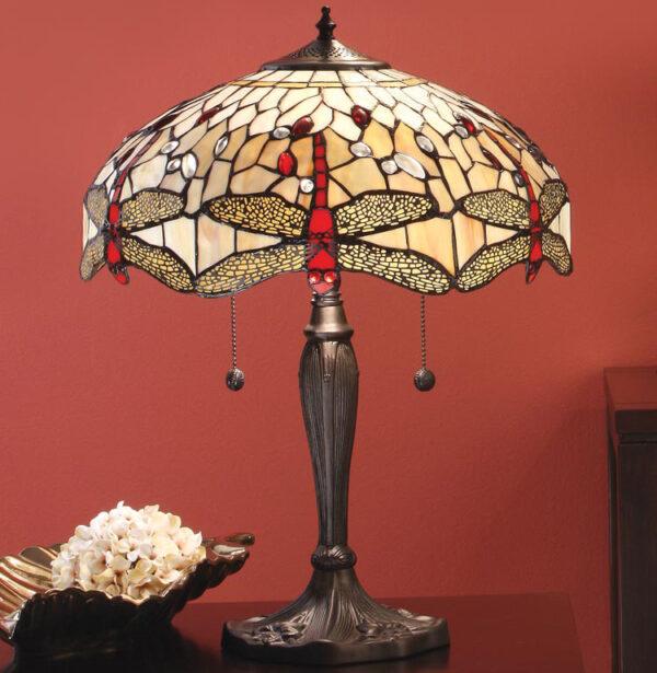 Beige Dragonfly 41cm Medium 2 Light Tiffany Table Lamp