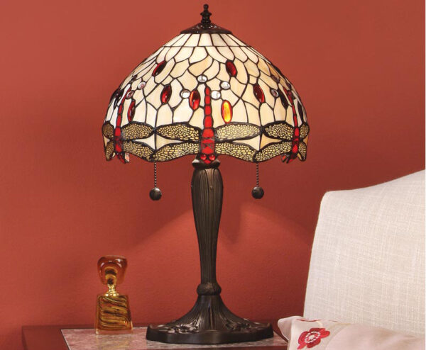 Beige Dragonfly Small 2 Light 30cm Tiffany Table Lamp