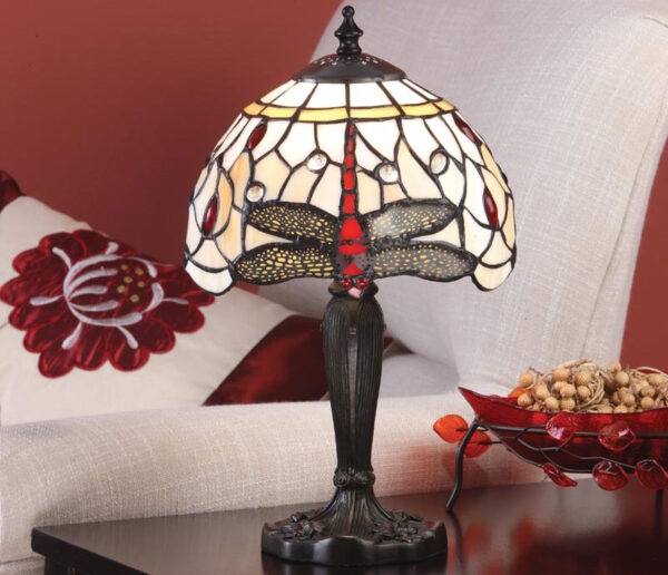 Beige Dragonfly Small 1 Light 20cm Tiffany Table Lamp