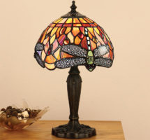 Flame Dragonfly Small 1 Light 20cm Tiffany Table Lamp