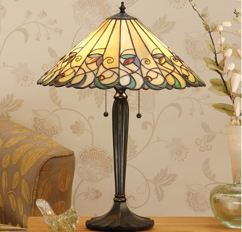 Jamelia 2 Light Tiffany Table Lamp Large Art Nouveau 64197