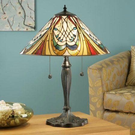 Hector Medium 2 Light Art Nouveau Tiffany Table Lamp