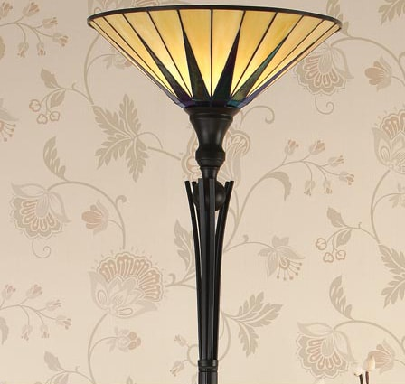 Dark Star Tiffany Floor Lamp Uplighter Art Deco Design 64042