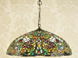 Large Anderson Traditional 3 Lamp Tiffany Pendant Light