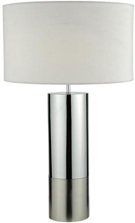 Dar Ingleby Satin And Polished Chrome Table Lamp White Shade