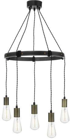 Dar Ivan Rustic 5 Light Circular Industrial Pendant