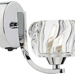 Dar Ivy Modern 1 Lamp Crystal Switched Wall Light Chrome