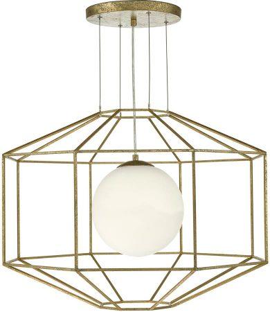 Dar Izmir Old Gold 1 Light Hexagonal Open Lantern Pendant