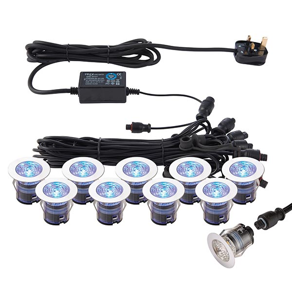 76616 Ikon Pro CCT 6500k 35mm blue LED 10 light decking kit in stainless steel blue