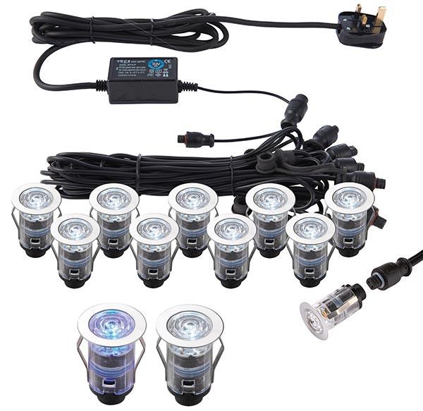 IkonPro Stainless 10 Light 25mm CCT 6500k / Blue LED Deck Lighting Kit