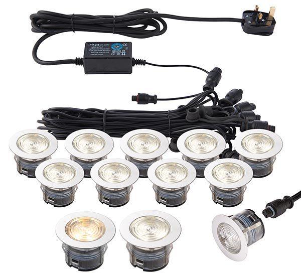 IkonPro Stainless 10 Light 45mm CCT 3000k / 4000k LED Deck Light Kit