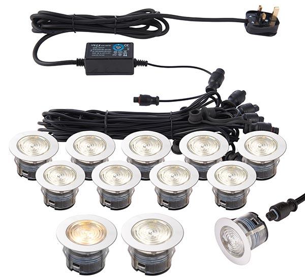 73349 IkonPro Stainless 10 Light 45mm CCT 3000k 4000k LED Deck Light Kit