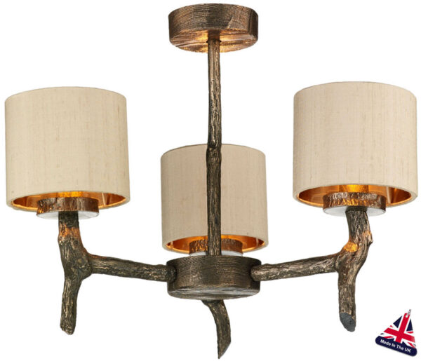 David Hunt Joshua Bronze 3 Light Dual Mount Chandelier Taupe Silk Shades