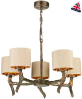 David Hunt Joshua Bronze 5 Light Dual Mount Chandelier Taupe Silk Shades