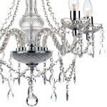 Dar Katie Traditional 5 Light Acrylic Crystal Chandelier Chrome