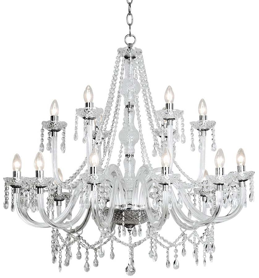 Dar Katie Large Traditional 18 Light Acrylic Chandelier Chrome