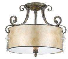 Quoizel Kendra Semi Flush Designer Drum 3 Lamp Ceiling Light