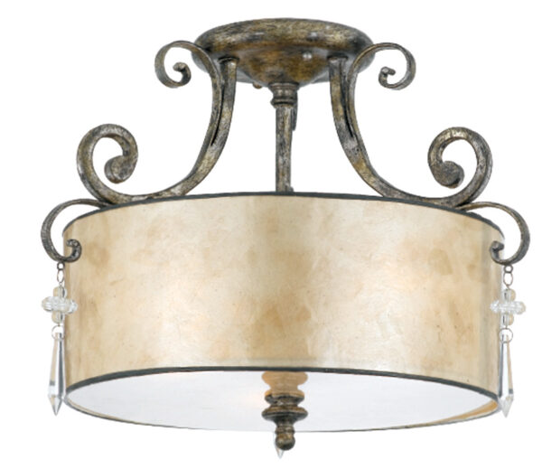 Quoizel Kendra Semi Flush Designer Drum 3 Lamp Ceiling Light