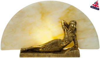 Small Art Deco Style Cleopatra Table Lamp Statuette Old Gold