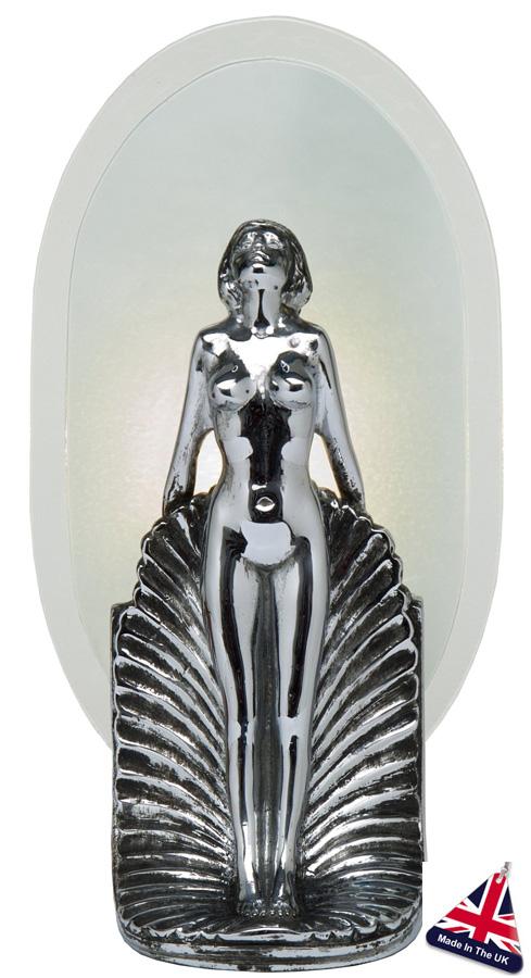 Art Deco Style Table Lamp Female Statuette Chrome