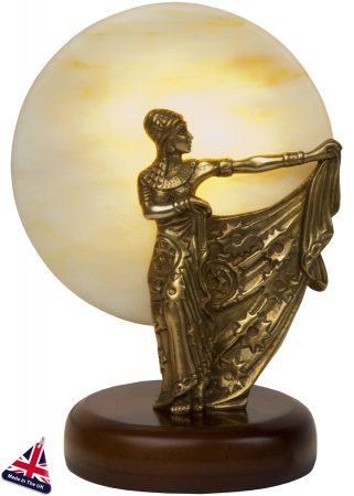 Small Art Deco Style Table Lamp Statuette Old Gold
