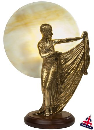 Large Art Deco Style Table Lamp Statuette Old Gold