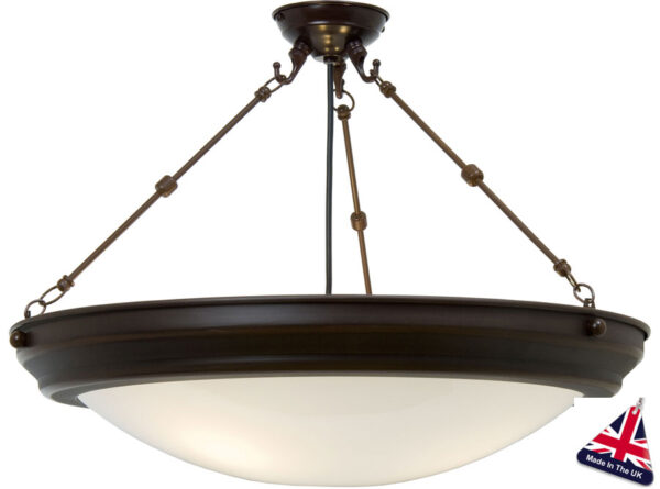 Large Art Deco style 3 light semi flush ceiling light with antique brown metalwork and etched glass dish
