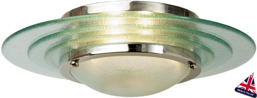 Astral Glass Art Deco 2 Lamp Flush Ceiling Light Chrome