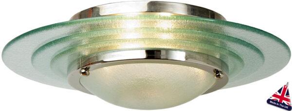 Astral Glass Art Deco 2 Lamp Flush Ceiling Light Chrome