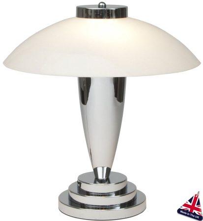 Chrome and white glass art deco table lamp uk made charlton98 chrome and white glass art deco table lamp uk made aloadofball Image collections
