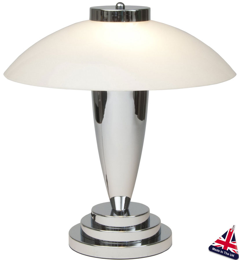 Chrome And White Glass Art Deco Table Lamp Uk Made