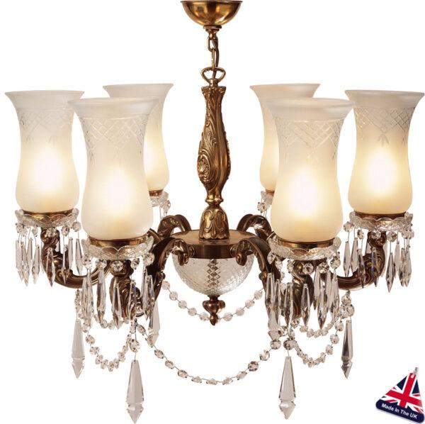 Maharaja Old Gold Chandelier 6 Light UK Handmade