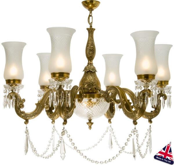 Maharaja Large Old Gold 8 Light Chandelier UK Handmade