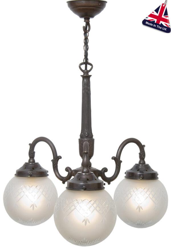 Pinestar Traditional 3 Lamp Pendant Light UK Handmade