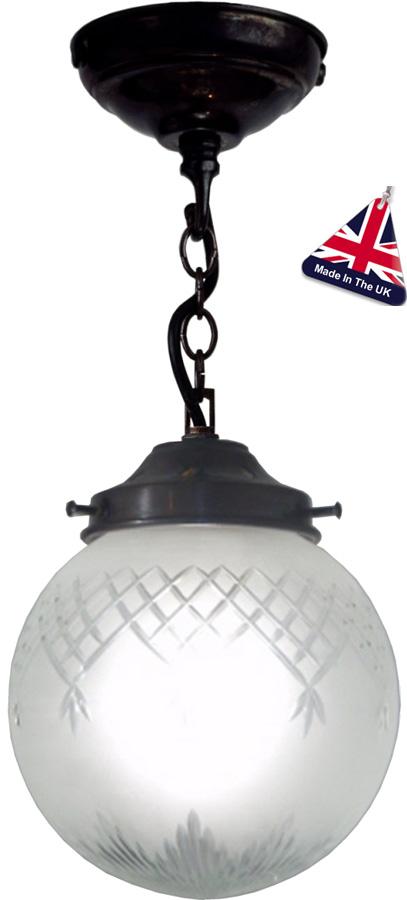 Pinestar Traditional Glass Globe Ceiling Pendant UK Handmade