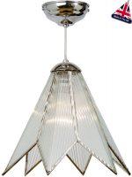 Small Chrome Art Deco Star Ceiling Pendant Light UK Made