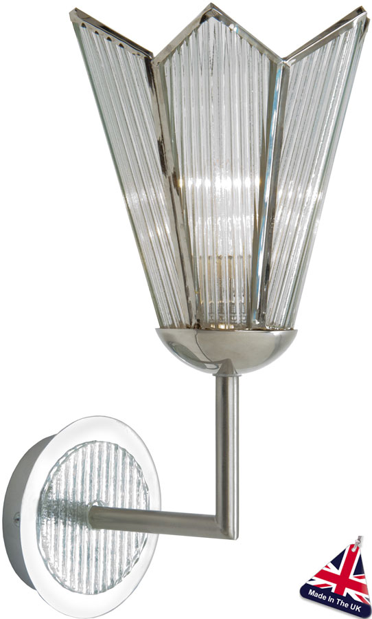 British Made Wall Lights : Chrome Art Deco Star Single Wall Lamp UK Made STAR97