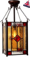 Hand Made Red Jewel Leaded Victorian Lantern UK Made