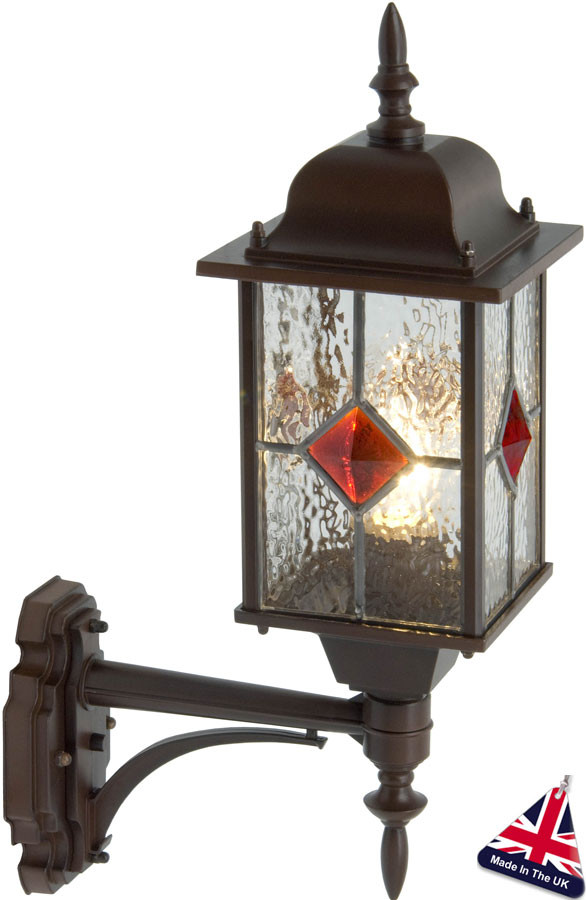 British Made Wall Lights : Victorian Leaded Glass Outdoor Wall Lantern UK Made VIC497