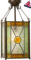 Hand Made Amber Jewel Leaded Victorian Lantern UK Made