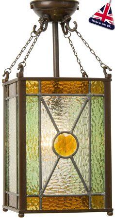 Hand Made Amber Jewel Leaded Victorian Lantern UK Made