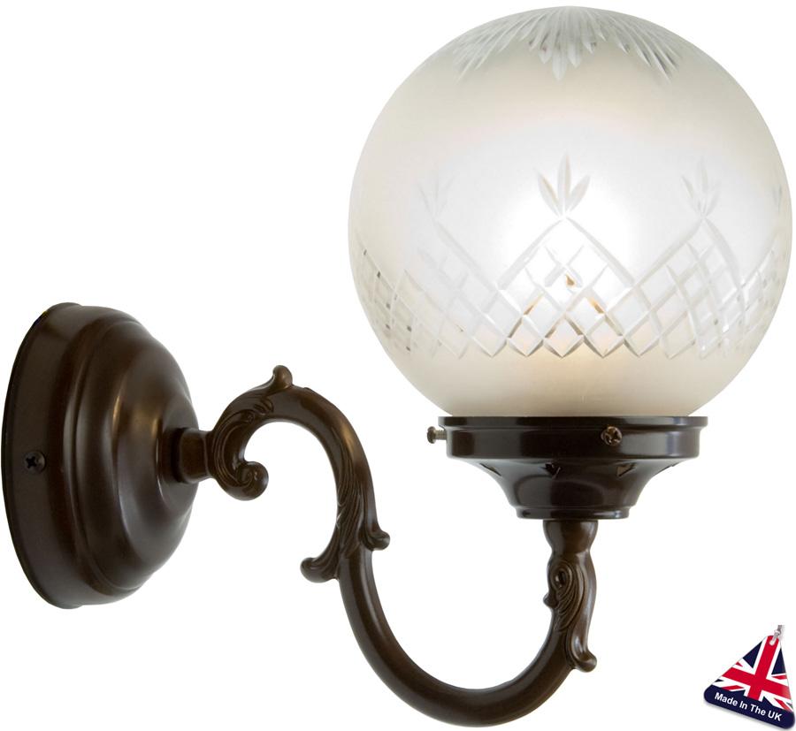British Made Wall Lights : Pinestar Traditional Glass Globe Wall Light UK Hand Made WALL22