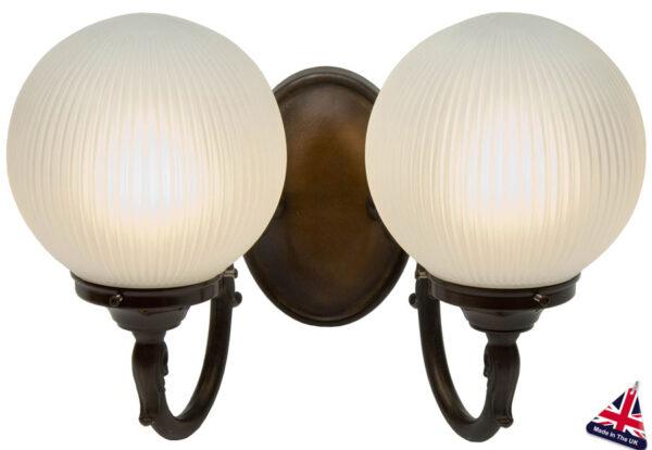 Traditional Antique Brass Finish 2 Light Globe Wall Light