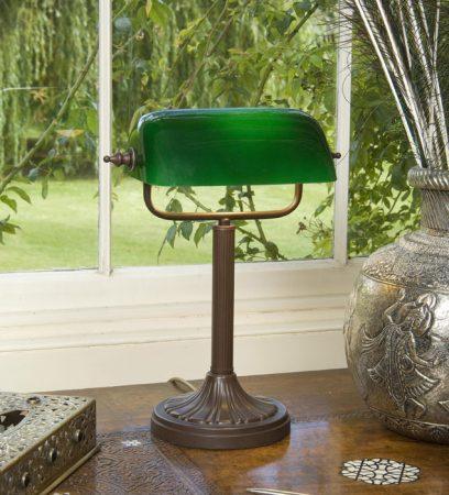 Handmade Antique Brown Bankers Lamp UK Made