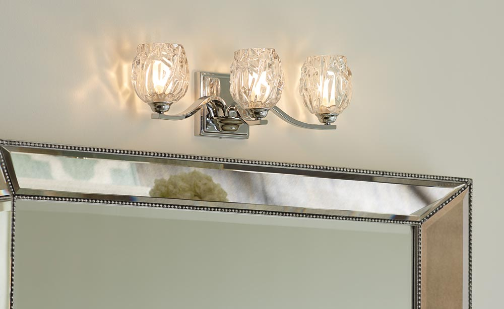 Feiss Kalli Chrome 3 Light LED Bathroom Over Mirror Light Crystal Shades