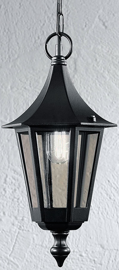 Traditional Small Outdoor Porch Chain Lantern Black Smoked Glass IP43