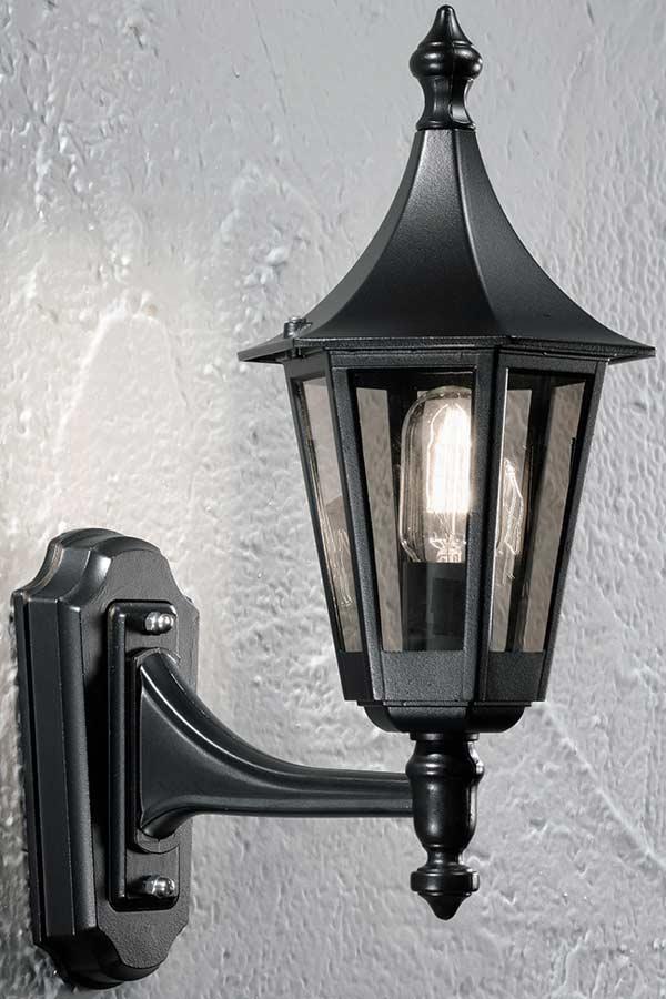 Traditional Small Upward Outdoor Wall Lantern Black Smoked Glass IP43