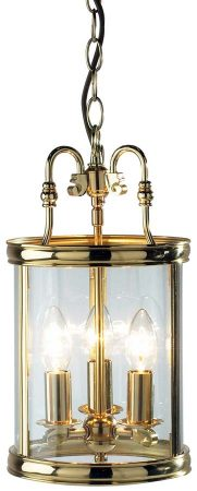 Dar Lambeth 3 Light Dual Mount Hanging Lantern Polished Brass