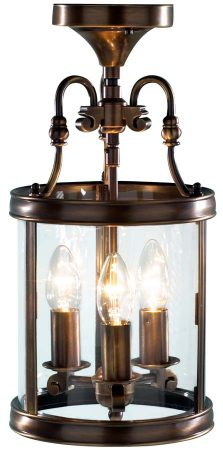 Dar Lambeth 3 Light Dual Mount Hanging Lantern Antique Brass