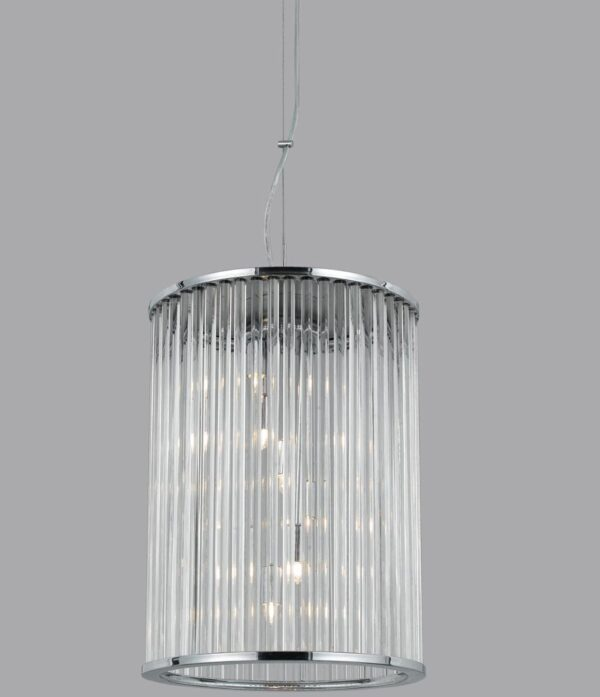 Chrome 6 Light Glass Rod Hanging Hall Lantern